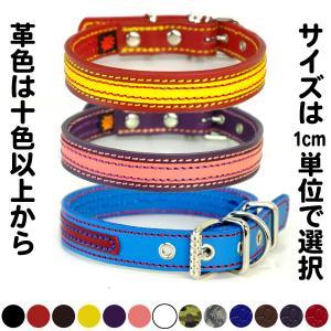 首輪 中型犬用 革 2cm幅:2cm Type 000ダブルカラー(鋲なし)  【色は7色以上から、サイズは1cm単位でオーダー】|extraheavyy