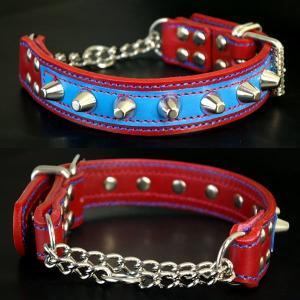 ハーフチョーク 中形犬用  スタッズ 革 3cm幅:3cm Type チョーカー 001 ダブルカラー(14mm鋲)【色は7色から、サイズは1cm単位でオーダー】|extraheavyy|02
