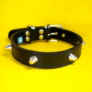 首輪 中型犬用 スタッズ 革 :2.5cm Type 002(14mm鋲)Light 【色は5色から、サイズは1cm単位でオーダー|extraheavyy