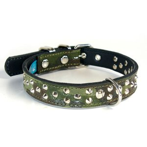 首輪 中型犬用 スタッズ 革 2cm幅:2cm Type 007(平尖鋲)【色は10色以上から、サイズは1cm単位でオーダー】|extraheavyy