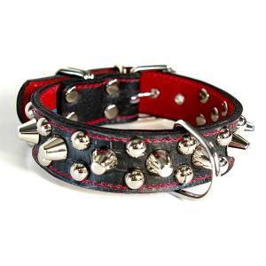首輪 中型犬用 スタッズ 革 3cm幅:3cm Type 003(14mm+10mm丸鋲))【色は10色以上から、サイズは1cm単位でオーダー】|extraheavyy