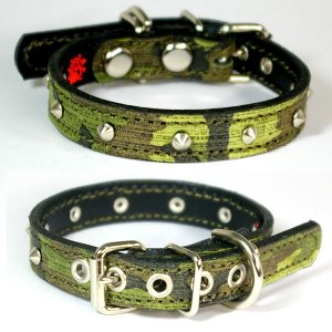 小型犬用スタッズ革首輪:Small Type 002(尖平鋲) *色は十色以上から、サイズは1cm単位でオーダー|extraheavyy