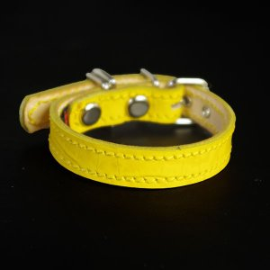 小型犬用革首輪:Small Type 000 型押しクロコ(レモンイエロー) extraheavyy