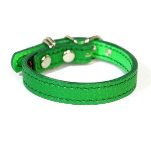 小型犬用革首輪:Small Type 000 シボ型押しグリーン|extraheavyy