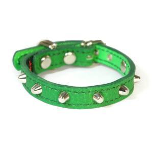 小型犬用革首輪:Small Type 001 シボ型押しグリーン|extraheavyy