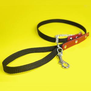 リード 革 PPテープ チェーン:1.5cm幅の小型犬用PPスモールチェーンリード 001|extraheavyy