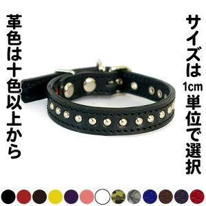 小型犬用スタッズ革首輪:Small Type 009(4mm丸鋲)*色は十色以上、サイズは1cm単位でオーダー|extraheavyy