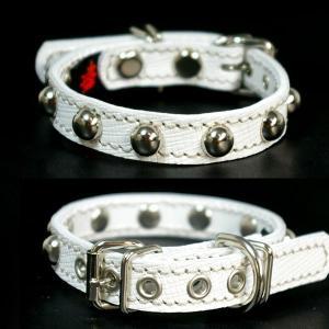 小型犬用スタッズ革首輪:Small Type 10MMB2(10mm丸鋲) *色は十色以上から、サイズは1cm単位でオーダー|extraheavyy