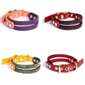 2cm幅の小型犬用革首輪:Small Type E-002 *色は十色以上から、サイズは1cm単位でオーダー|extraheavyy