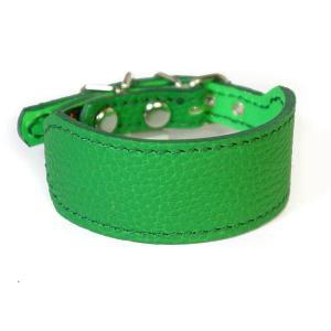 イタグレミニピン用革首輪:Small Type G2-000シボ型押しグリーン|extraheavyy
