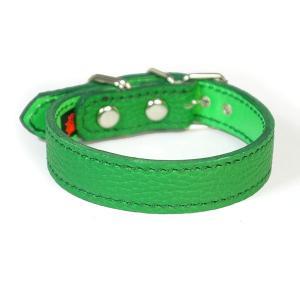 小型犬用2cm幅革首輪:Small Type G5_000 シボ型押しグリーン|extraheavyy