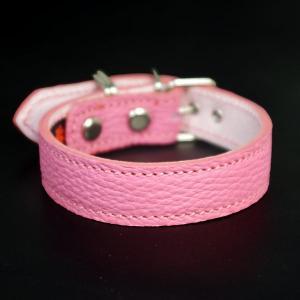 小型犬用2cm幅革首輪:Small Type G5_000 シボ型押しピンク|extraheavyy