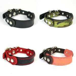 2cm幅の小型犬用革首輪:Small Type GF *色は十色以上から、サイズは1cm単位でオーダー|extraheavyy