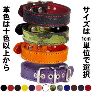 首輪 小型犬用 スタッズ 革 2cm幅:Small Type G5-000(鋲なし) *色は十色以上から、サイズは1cm単位でオーダー|extraheavyy