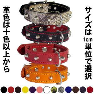 2cm幅の小型犬用スタッズ革首輪:Small Type G5-001(8mm鋲) *色は十色以上から、サイズは1cm単位でオーダー|extraheavyy