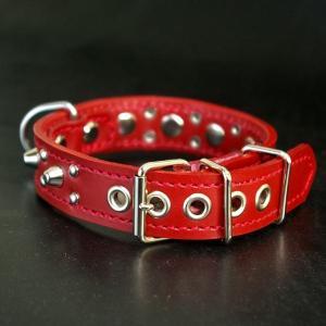 首輪 小型犬用 スタッズ 革 2cm幅:Small Type G5-003(8mm+4mm丸鋲) *色は十色以上から、サイズは1cm単位でオーダー|extraheavyy|02