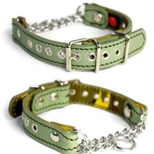アウトレット0551:小型犬用2cm幅の革ハーフチョーク(頭周り27cm)|extraheavyy