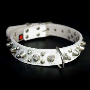 アウトレット0344:3cm幅のスタッズ中型犬用革首輪(46cm)|extraheavyy