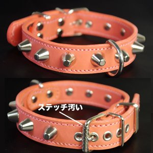 アウトレット0459:3cm幅の中型犬用スタッズ革首輪(34cm)|extraheavyy