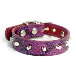 アウトレット0106:2cm幅の小型犬用スタッズ革首輪(25cm)|extraheavyy