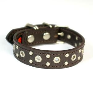 アウトレット0109:2cm幅の小型犬用スタッズ革首輪(24cm)|extraheavyy