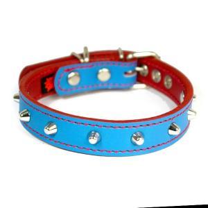 アウトレット0122:2cm幅の中型犬用スタッズ革首輪(33cm)|extraheavyy
