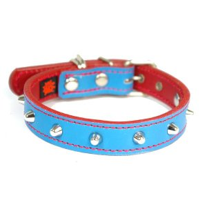 アウトレット0123:2cm幅の中型犬用スタッズ革首輪(32cm)|extraheavyy