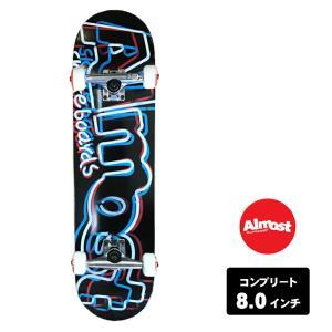 ALMOST スケートボード デッキ コンプリート セット 8.0インチ【 NEON RED/WHT/BLU 】 スケボー オールモスト DECK|extreme-ex