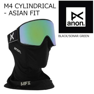 19 ANON Goggle M4 CYCLINDRICAL-AsianFit Black/SonarGreen アジアンフィット アノン ゴーグル 眼鏡対応 18-19 2018-19 19Snow|extreme-ex