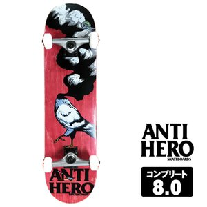 ANTIHERO スケートボード コンプリート セット 8.0インチ【 NEW PIGEON LG RED 】 スケボー  アンチヒーロー デッキ|extreme-ex
