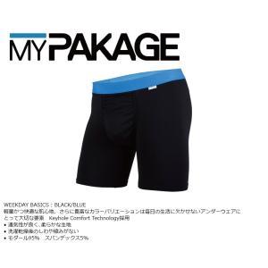 MyPakage WEEKDAY SOLID BLACK/BLUE 股下6inch丈 マイパッケージ ボクサーパンツ キーホール コンフォート MPWD ポスト投函(メール便)|extreme-ex