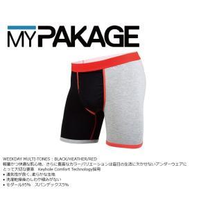 MyPakage WEEKDAY SOLID BLACK/HEATHER/RED 股下6inch丈 マイパッケージ ボクサーパンツ キーホール コンフォート MPWD ポスト投函(メール便)|extreme-ex