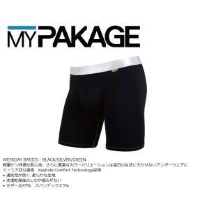 MyPakage WEEKDAY SOLID BLACK/SILVER/GREEN 股下6inch丈 マイパッケージ ボクサーパンツ キーホール コンフォート MPWD ポスト投函(メール便)|extreme-ex