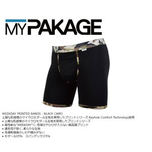 MyPakage WEEKDAY PRINTED BANDS BLACK/CAMO 股下6inch丈 マイパッケージ ボクサーパンツ キーホール コンフォート MPWDPB extreme-ex