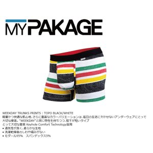 MyPakage WEEKDAY TRUNKS PRINT TOPO BLACK/WHITE 股下3inch丈 マイパッケージ ボクサーパンツ キーホール コンフォート MPWTP extreme-ex