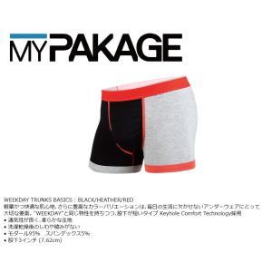 MyPakage WEEKDAY TRUNKS SOLID BLACK/HEATHER/RED 股下3inch丈 マイパッケージ ボクサーパンツ キーホール MPWT ポスト投函(メール便)|extreme-ex