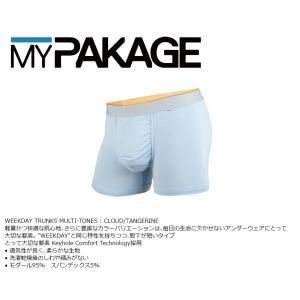 MyPakage WEEKDAY TRUNKS SOLID CLOUD/TANGERINE 股下3inch丈 マイパッケージ ボクサーパンツ キーホール MPWT ポスト投函(メール便)|extreme-ex