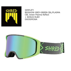 19 SHRED Goggle SIMPLIFY BIGSHOW GREY/GREEN CBL/CBL Green Plasma Reflect シュレッド シンプリ― ボードゴーグル 18-19 19Snow|extreme-ex