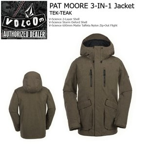 18 VOLCOM PAT MOORE 3-in1 Jacket F.Forest ボルコム パットムーア ジャケット 17-18 2017-18|extreme-ex