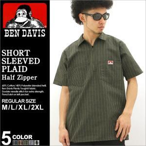 ベンデイビス/BEN DAVIS/ベンデイビス シャツ 半袖/シャツ メンズ 半袖/ワークシャツ 半袖/ハーフジップ 半袖/大きいサイズ/アメカジ ブランド f-box