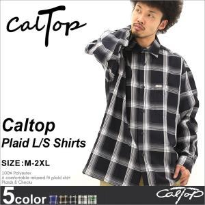 キャルトップ/caltop/シャツ 長袖 メンズ 大きいサイズ/チェックシャツ/カジュアルシャツ/長袖シャツ/アメカジ/ヒップホップ f-box
