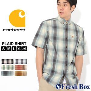 カーハート シャツ 半袖 ボタンダウン ポケット チェック柄 薄手 メンズ 104174 USAモデル|ブランド Carhartt|チェックシャツ アメカジ|f-box