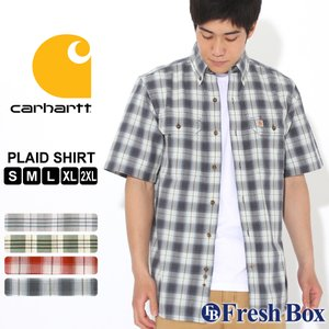カーハート シャツ 半袖 ボタンダウン ポケット チェック柄 シャンブレー メンズ 104175 USAモデル|ブランド Carhartt|チェックシャツ アメカジ|f-box
