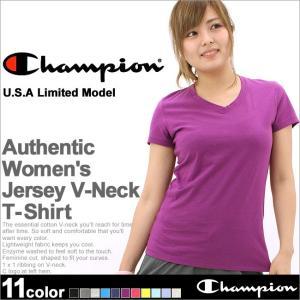 チャンピオン Vネック Tシャツ 半袖 無地 レディース 大きいサイズ USAモデル|ブランド 半袖Tシャツ アメカジ ロゴ|おしゃれ カジュアル|f-box