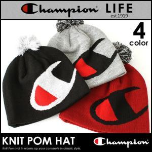 Champion チャンピオン キャップ 帽子 ニット帽 メンズ ポンポン ニットキャップ ボンボン ニットキャップ ビーニー champion life|f-box