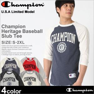 チャンピオン Tシャツ ラグラン 7分袖 メンズ 大きいサイズ USAモデル|ブランド ロゴ アメカジ|f-box