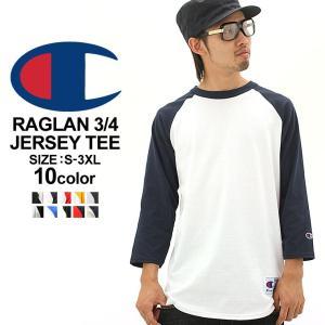 チャンピオン Tシャツ ラグラン 7分袖 レディース メンズ 大きいサイズ USAモデル|ブランド ベースボールTシャツ ロゴ アメカジ|f-box