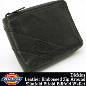 ディッキーズ 財布 二つ折り 小銭入れなし ラウンドファスナー メンズ 本革 レザー 31DI1308|USAモデル Dickies|二つ折り財布|f-box