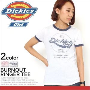ディッキーズガール レディース Tシャツ 半袖 カジュアル ロゴ|USAモデル Dickies Girl|ディッキーズ 半袖Tシャツ リンガー カットソー|f-box