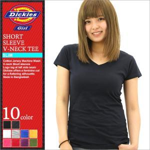 ディッキーズガール Tシャツ 半袖 Vネック 無地 レディース JR830|大きいサイズ USAモデル Dickies Girl|ディッキーズ 半袖Tシャツ|f-box